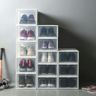 Yorbay Schuhbox aus Kunststoff 3er Set, stapelbarer Schuhorganizer, transparente Aufbewahrungsboxen