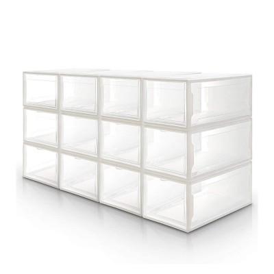 12er set Yorbay Schuhbox, stapelbarer Schuhorganizer, Kunststoffbox mit durchsichtiger Tür, für Schuhe bis Größe 48, Weiß