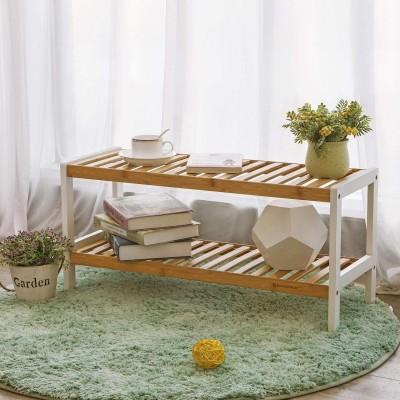 Bambus Schuhregal Schuhschrank Schuhständer weiß-naturfarben