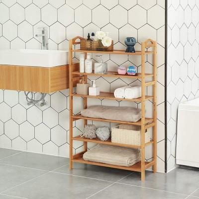 Bambus Schuhregal, Standregal, Bücherregal, Schuhschrank mit 6 Ebenen für Wohnzimmer, Diele, Flur, Bad