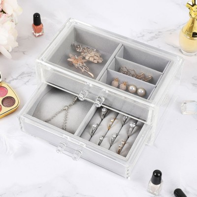 Schmuckschatulle für Damen Schmuckkästchen mit 2 Schubladen, transparent