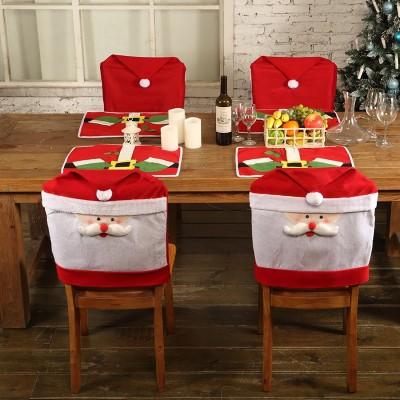 4x Stück Weihnachts Stuhlhussen + 4x Platzdeckchen Set