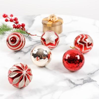 24er Weihnachtsbaumkugeln Set, 6cm Kunststoff Christbaumkugeln Set, Rot Gold