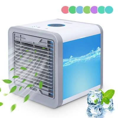 Yorbay mini Luftkühler mit LED-Nachtlicht in 7 Farben, 4 in1 USB Mobile Klimageräte mit 3 Lüftergeschwindigkeiten für Sommer, mini Ventilator