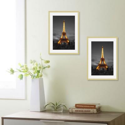 2er Set Bilderrahmen aus Alulegierung zum Aufstellen, Aufhängen Fotorahmen Bildabdeckung aus Glas Foto Collage Gold Mehrweg, 10x15cm, DIN A4 (21 x 29,7 cm)