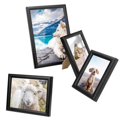 Bilderrahmen zum Aufstellen und Aufhängen, Fotorahmen aus Holz, Foto Collage, schwarz, 1 stück