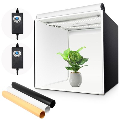 Fotostudio 60x60x60cm Lichtzelt mit LED Beleuchtung, Lichtwürfel mit 3 Hintergrundpapier für Fotografie