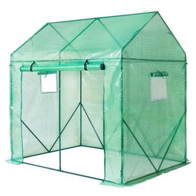 Foliengewächshaus groß mit Gitternetzfolie, Gewächshaus für Tomaten mit Tür und Fernster, 200 x 140 x 200cm (LxBxH)