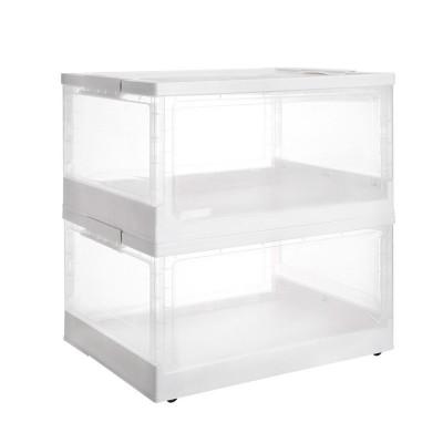 faltbare Aufbewahrungsboxen 2er Set mit Deckel und Rollen, stapelbare Faltboxen aus Kunststoff, 47,4 x35,3 x 23,5 cm