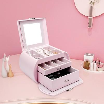 Seelux Schmuckkoffer aus PU-Leder Pink, rund Schmuckkasten für Mädchen als Geschenk, Weihnachtsgeschenk