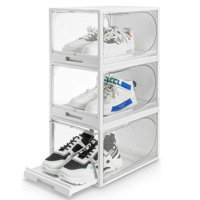 Schuhbox Schubladen-Design, 3er Set, stapelbarer Schuhorganizer für Schuhe bis Größe 48, Transparent