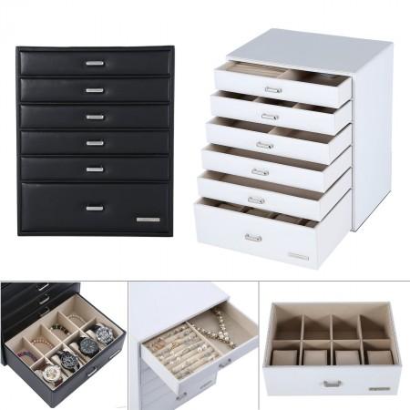 Seelux 6 Schubladen Schmuckkoffer, Schmuckkasten Uhrenkoffer Kosmetikkoffer schwarz, weiß