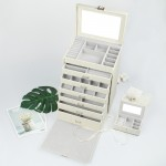 Schmuckkästchen aus PU Leder mit 6 Schubladen, abschließbare Schmuckkästchen mit Mini-Box