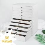 Schmuckkoffer mit 10 Schubladen, Schmuckkästchen aus PU-Leder in weiß mit großen Stauraum