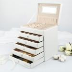 Seelux Schmuckkästchen Schmuckkoffer mit 5 Schubladen Schwarz & Weiß