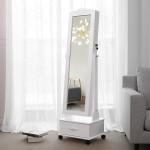 Schmuckschrank mit Rollen und LED Beleuchtung abschließbar weiß