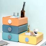 4er Set stapelbar Schubladenbox für Büro und Ordnungssystem, Aufbewahrungsbox mit 4 Schubladen bunt (Orange, Gelb, Grün, Blau)