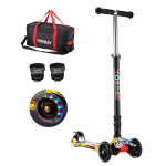 Klappbar Kinder Scooter Roller mit LED Rollen (Graffiti Schwarz)