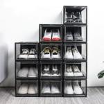super transparent Schuhbox, stapelbarer Schuhorganizer 3er Set, Kunststoffbox für Schuhe bis Größe 48