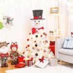 künstlicher Weihnachtsbaum mit LED Beleuchtung, Schneemann Baum mit Hut und Schal, 120cm
