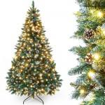 künstlicher Weihnachtsbaum mit Beleuchtung, LED Tannenbaum mit weißen Schnee und echten Kiefernzapfen, Feuerbeständig, 150cm 180cm 210cm